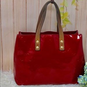 Authentic Louis Vuitton Red Vernis Satchel Bag